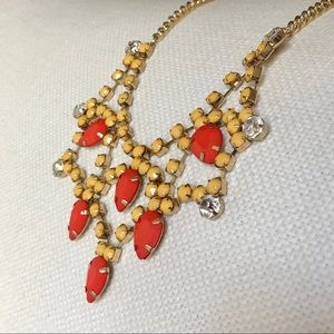 Jewelry - Gold orange and yellow statement necklace, NEW